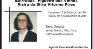 Agradecimento: Alzira da Silva Vitorino Pires