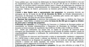 Edital 4/2015: Concurso Público para a exploração do complexo da Praia Fluvial do Mosteiro