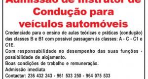 Admissão de Instrutor de Condução para veículos automóveis