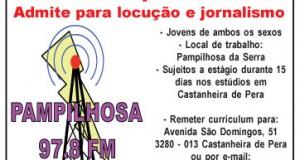 Rádio Pampilhosa 97.8 – Admite para locução e jornalismo