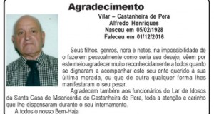 Agradecimento – Alfredo Henriques
