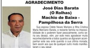 Agradecimento – José Dias Barata (O Rolhas)