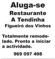 Aluga-se – Restaurante A Tendinha – Figueiró dos Vinhos