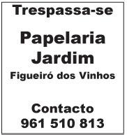 Trespassa-se Papelaria Jardim, em Figueiró dos Vinhos