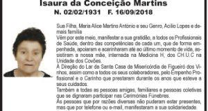 Agradecimento – Isaura da Conceição Martins