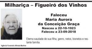 Falecimento – Maria Aurora da Conceição Graça