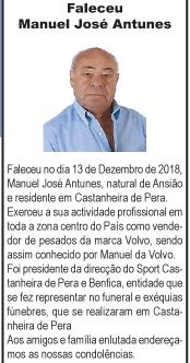 Faleceu – Manuel José Antunes