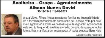 Agradecimento – Albano Nunes David