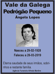 Faleceu – Angela Lopes