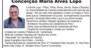 Agradecimento Conceição Maria Alves Lopo