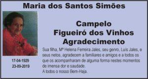 Agradecimento: Maria dos Santos Simões