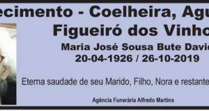 Faleceu Maria José Sousa Bute David