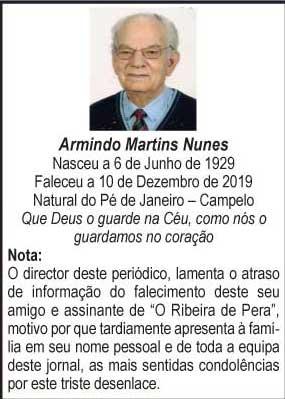 Falecimento: Armindo Martins Nunes
