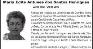 Falecimento – Maria Edite Antunes dos Santos Henriques