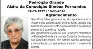 Agradecimento – Alzira da Conceição Simões Fernandes