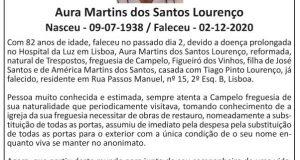 Campelo, Figueiró dos Vinhos: Falecimento – Aura Martins dos Santos Lourenço